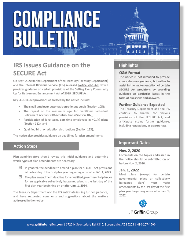 IRS Issues Guidance on the SECURE Act_FINAL