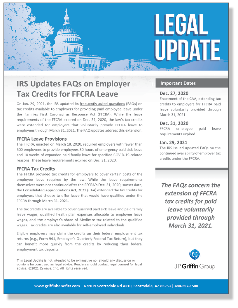 IRS Issues New FAQs on Tax Credits for FFCRA Leave