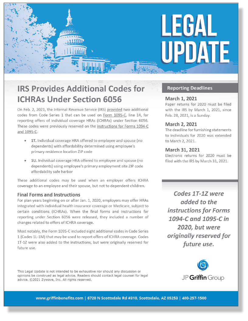 IRS Provides Additional Codes for ICHRAs Under Section 6056 (Added 2/4)