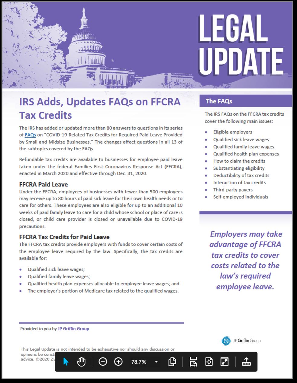 IRS Updates FAQs on FFCRA Tax Credits