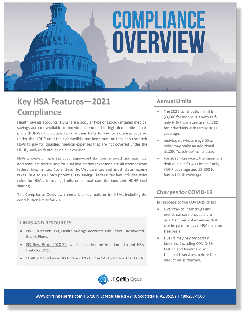 Key HSA Features - 2021 Compliance (3/11)