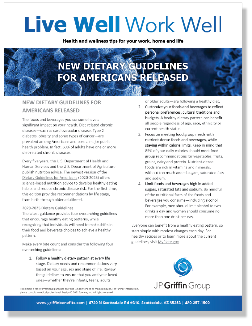 New Dietary Guidelines for Americans Released (Added 3/2)