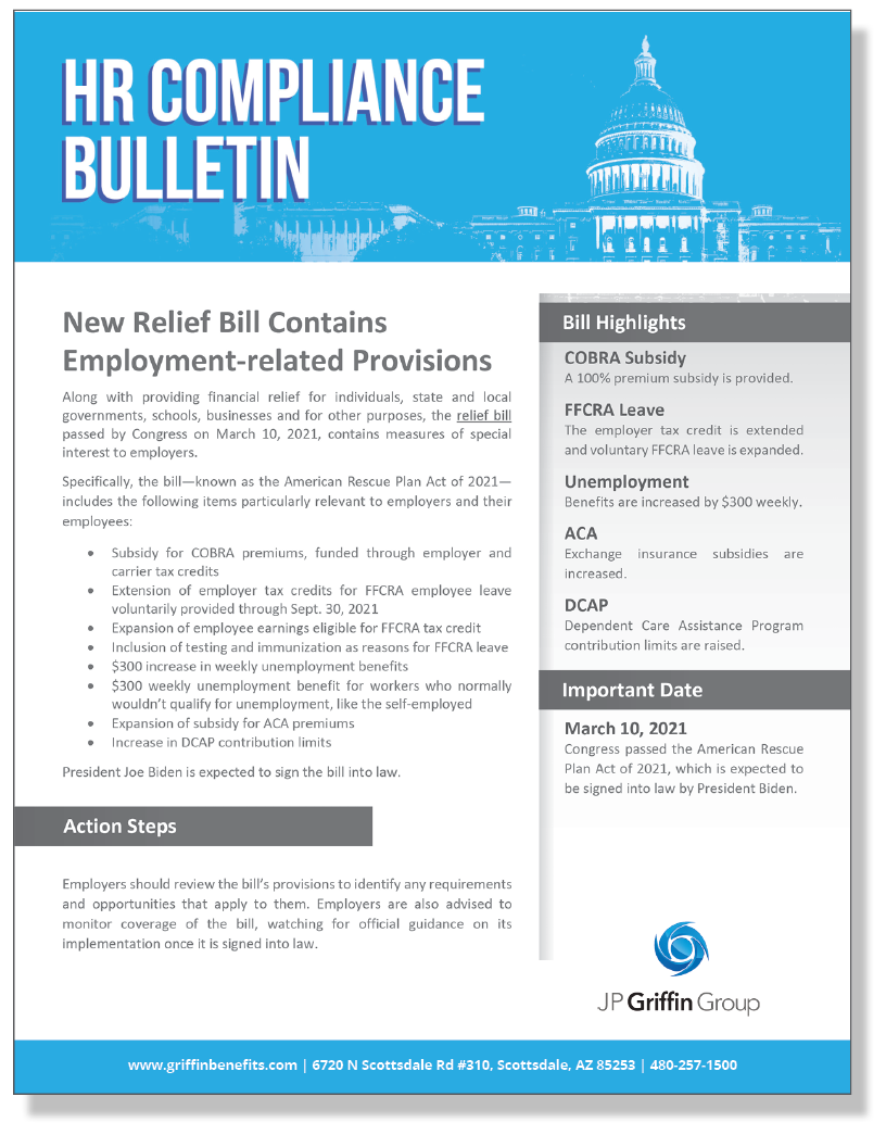 New Relief Bill Contains Employment-related Provisions (Added 3/11)