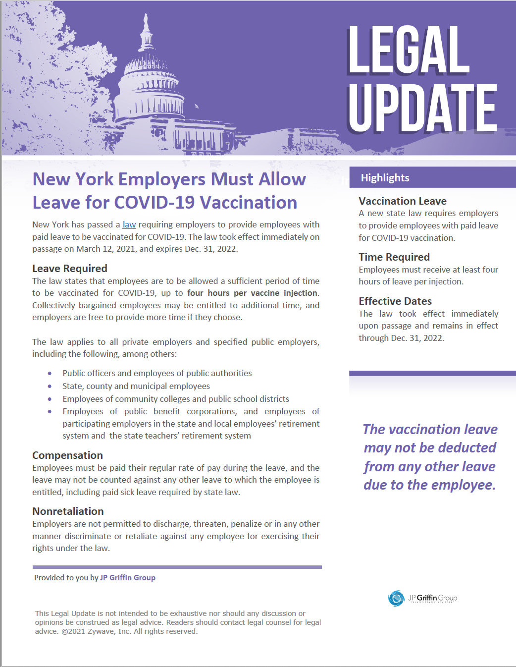 New York Employers Must Allow Leave for COVID-19 Vaccination (3/17)