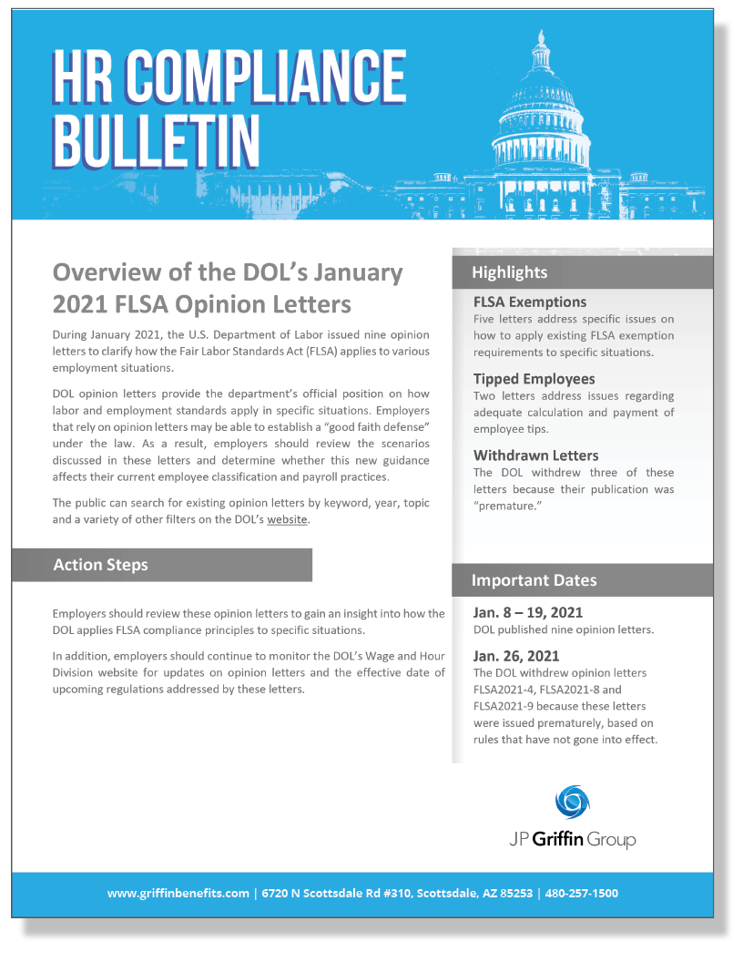 Overview of the DOL's January 2021 FLSA Opinion Letters