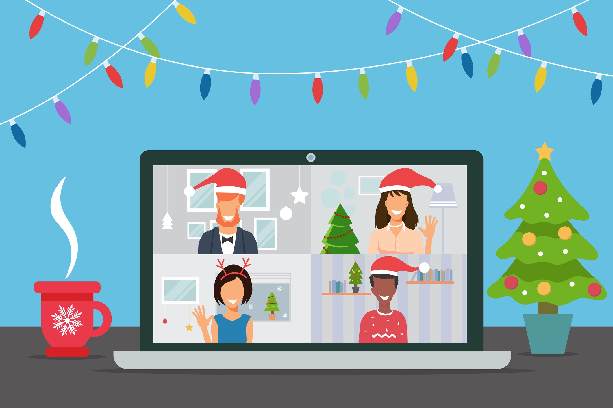 Virtual Company Holiday Party Ideas During Coronavirus Pandemic - Featured Image