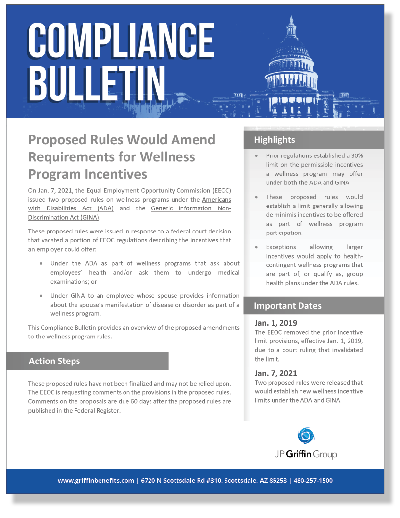 Proposed Rules Would Amend Requirements for Wellness Program Incentives