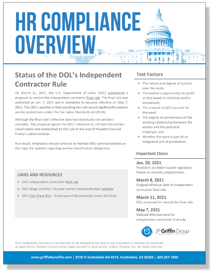 Status of the DOL's Independent Contractor Rule (Added 4/1)