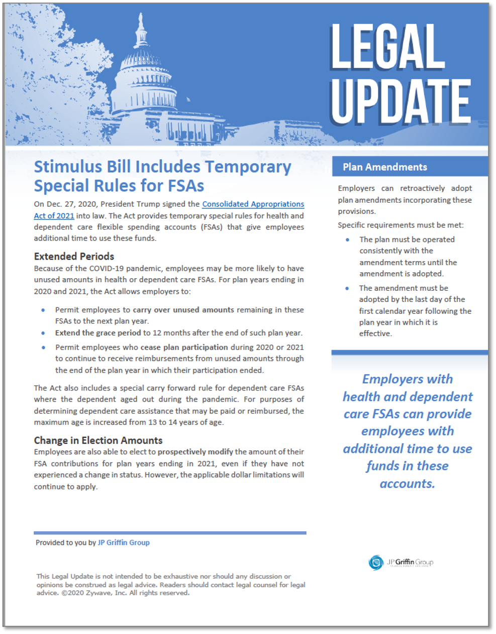 Stimulus Bill Includes Temporary Special Rules for Health and Dependent Care FSAs