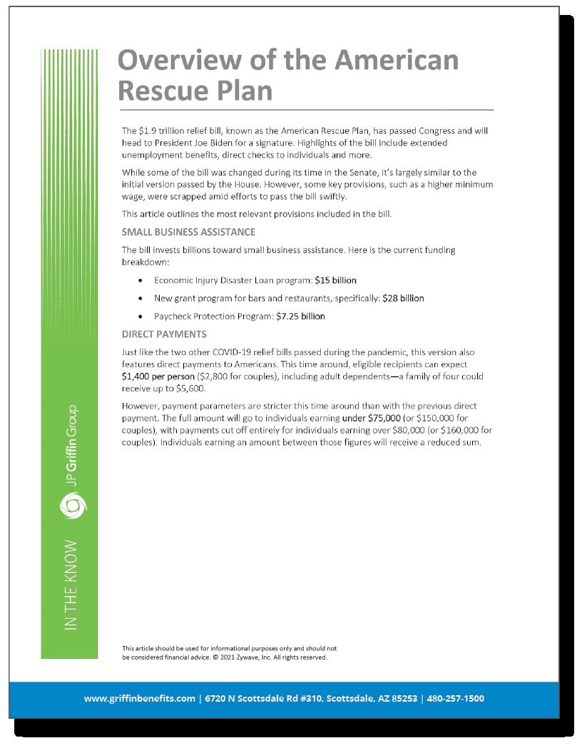 Understanding the $1.9 Trillion American Rescue Plan (3/12)