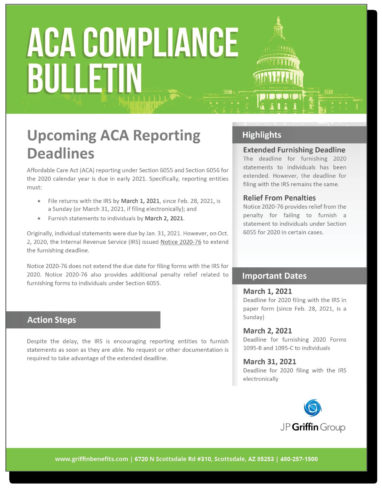 Upcoming ACA Reporting Deadline