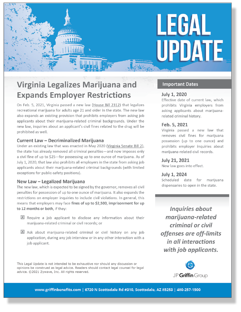 Virginia Legalizes Marijuana and Expands Employer Restrictions]