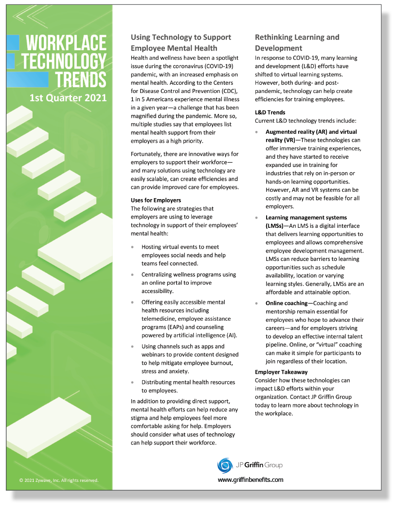Workplace Technology Trends Q1 2021