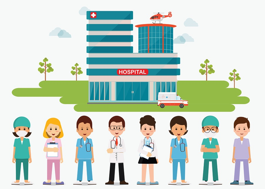 A cartoon images of medical professionals standing in front of a hospital.