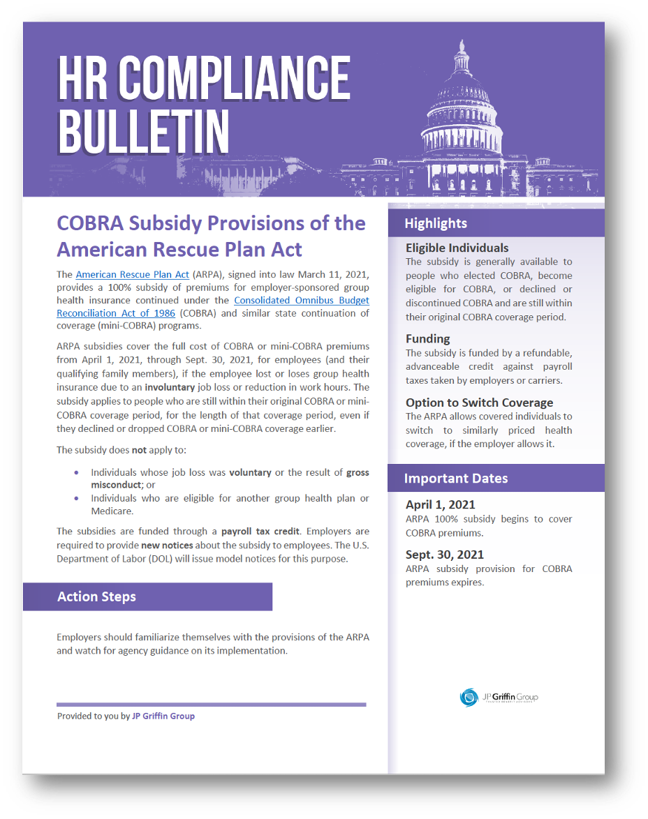 COBRA Subsidy Provisions of the American Rescue Plan Act-2