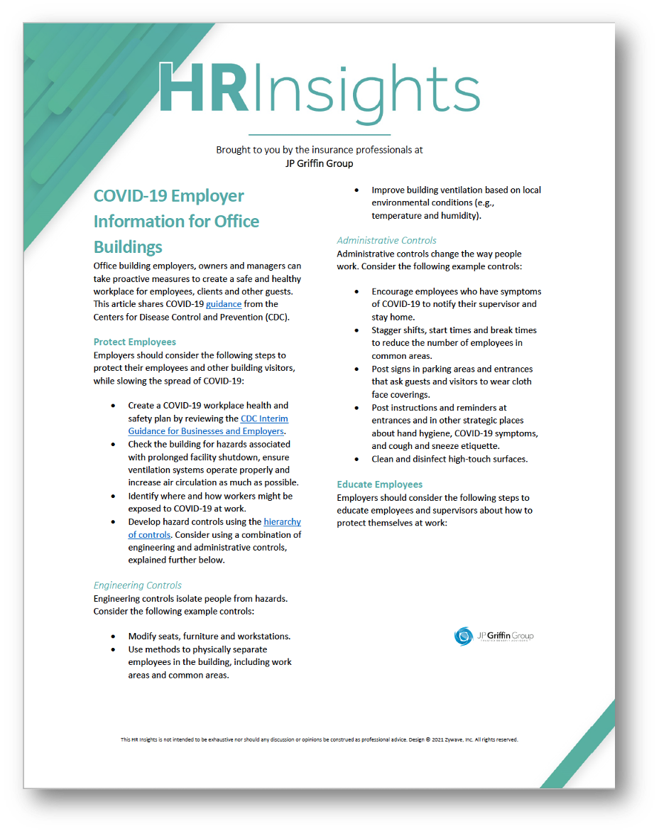 COVID-19 Employer Information for Office Buildings