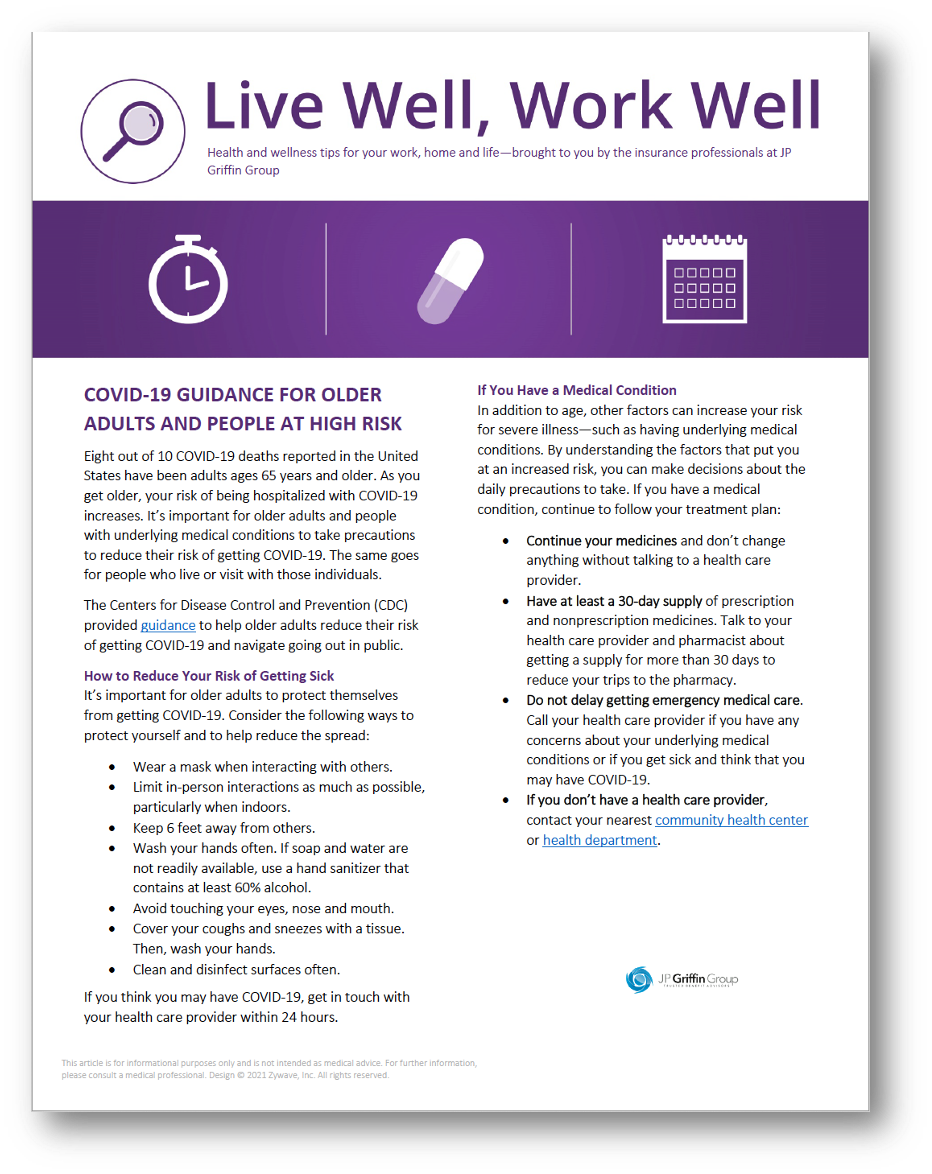 COVID-19 Guidance for Older Adults and People at Higher Risk